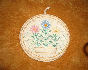 Vintage 1950s Handmade and Embroidered Potholder