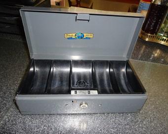 Vintage Steelmaster Industrial Gray Office Metal Cash Box