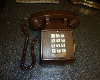 Vintage 1980s Chocolate Brown Push Button Comdial Telephone