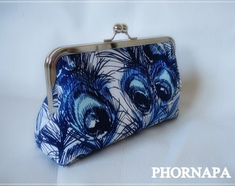 Lanikai Peacock Canvas Clutch Made to Order