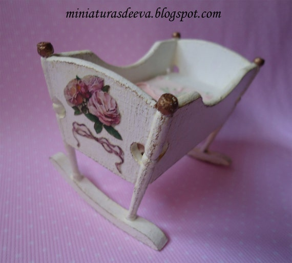 Offer - Shabby Chic and hand painted cot with baby. 1/12th scale.