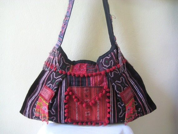 Extra large Hmong Ethnic Embroidered Sling Messenger Tote Bag