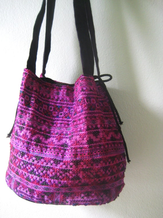 Ethnic Tribal Handbag Purse Embroidered Upcycled Hmong Hilltribe Textile Shoulder Bell Bag