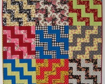 "Classic Retro Staircase Wall Quilt, Fabulous Fabrics, Multi Colors  48"" x 48"""