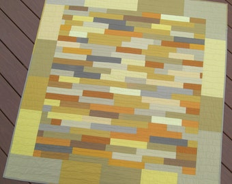 "Serendipity Wall Quilt, Modern, Improvisation, Gold and Gray, 48"" x 51"""
