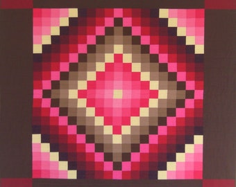 """PA Amish Quiltsy Quilt Sunshine & Shadow Wall Quilt RedPink Mod Traditional 54"""" x 54"""""""