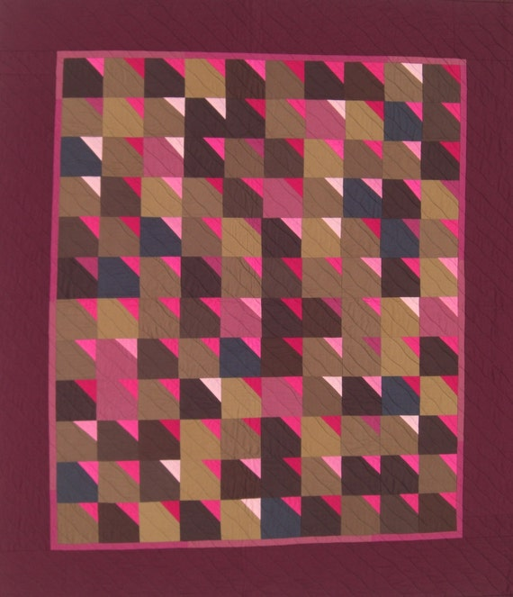 "Burgundy & Brown Wall Quilt, Throw, Lap Quilt, Wine Lovers Quilt, Wall Hanging, Art Quilt, Improv, 48"" x 55"""