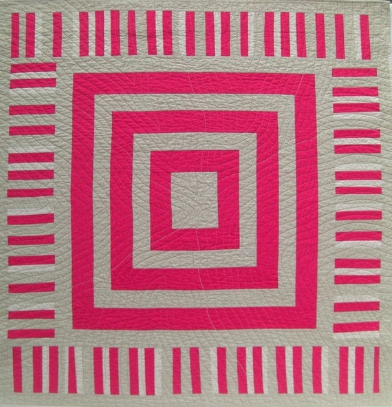 "Improv Wall Quilt, Pink & Tans, New Quilt, Vintage Look, On Sale, 45.5"" x 47"""
