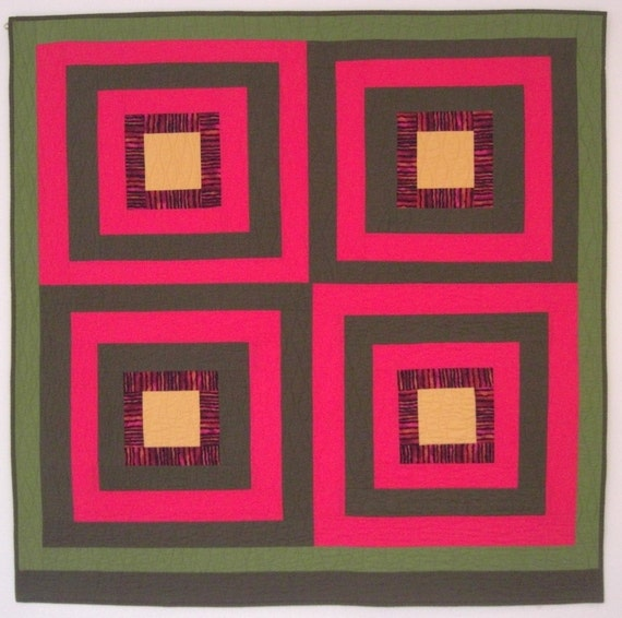 """Log Cabin Wall Quilt, Warm Colors Improv Quilt, Red & Green, Four-Blocks, 47"""" x 47"""""""