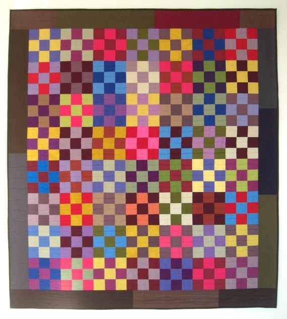 """Amish 9-Patch Heartsy Wall Quilt Throw, Beautiful Colors, Classic 50"""" x 55"""""""
