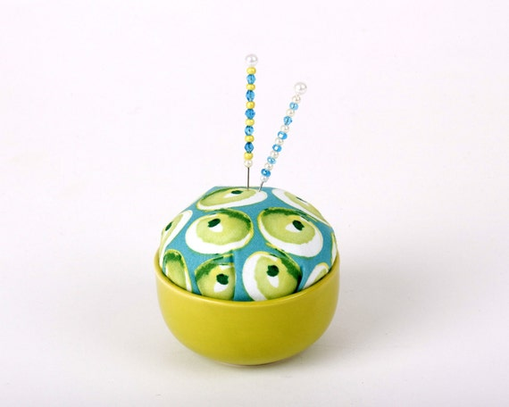 Pincushion, Lime Green Turquoise, Modern, Mod, Happiness, Sewing Tool, Pin Cushion