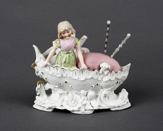Pincushion, Vintage Parian Girl in a Boat, Bisque, Unglazed Porcelain, Silk, Sewing Gift, Germany, Antique, Pin Cushion