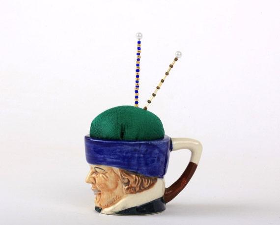 Pincushion, Toby Mug, Character Mug, Vintage, Antique, Collectible, Pin Cushion