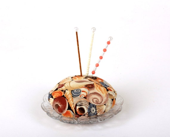 Pincushion, Seashells, Beach, Ocean, Beach-Combing, Sewing Gift, Gift for Quilter, Pin Cushion