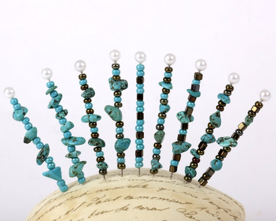 Pinsies, Turquoise, Beaded Pins, Pincushion Pins, Beads, Pin Collection (103)