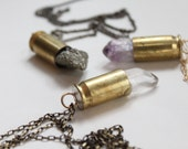 Crystal Bullet Necklace, Bullet Necklace, Crystal Necklace, Pyrite, Quartz,  Amethyst Statement Necklace