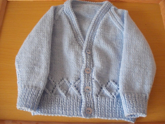 hand knitted boy's baby cardigan 3 to 6 months in blue