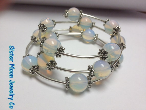 Moonstone and Silver Wrap Bracelet POSITIVELY GLOWS Beyond Beautiful