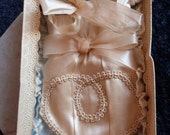 Antique French silk bag for victorian wedding bride or girls first communion, purse in box, 1800s, handmade w silk, bow, lace