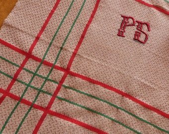 Set 6 Antique French table napkins unused linen hand monogrammed w monograms PS dowry table linens red green striped christmas table linens