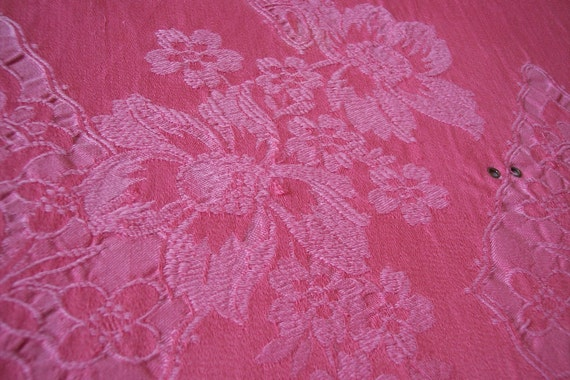 pink ArtDeco damask vintage French ticking fabric, big mattress toile, romantic roses, supply for textile projects upholstery patchwork
