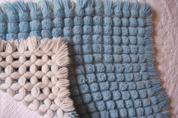 Vintage French baby blanket bedspread throw coverlet spread, bed, crib, reversible blue and white, in relief