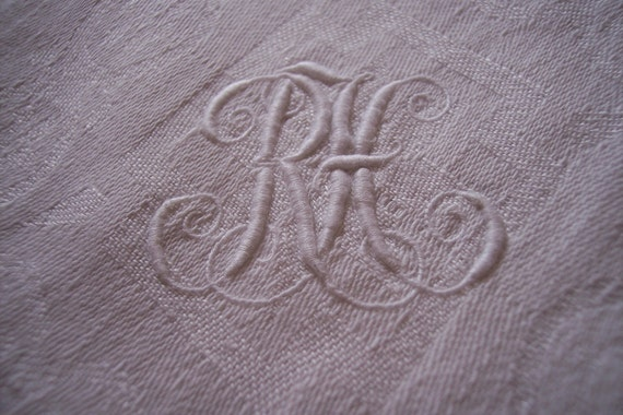Antique French linen damask tablecloth monogrammed cloth monograms RH, white table linens for diningtable w damask roses, handworked