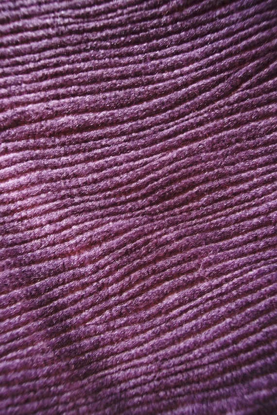 Vintage French Corduroy Fabric Big Piece 1970 S Purple