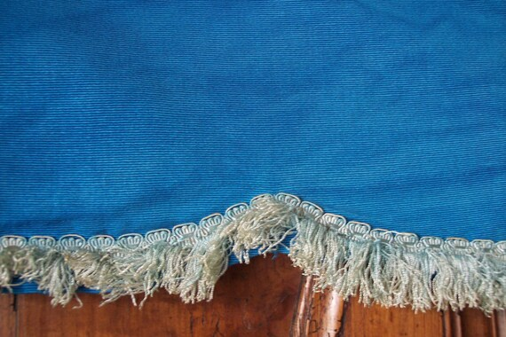 Vintage window curtain valance French canopy pelmet cantonnière made of blue corduroy w fringed trim for cottage touch