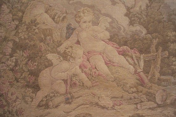 Antique French Tapestry Wall Hanging Big Rare 1800s Chateau