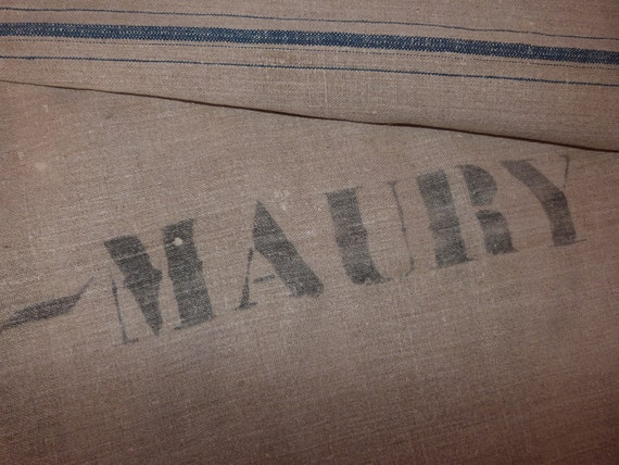 BIG antique French linen grain sack w indigo stripes, monogrammed IM, stamp MAURY, wine region France, handloomed linen hemp fabric