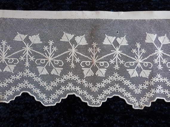 Linen lace edging for altar cloth shrine, priest vestment, hand embroidered lace trim whitework by nuns, French, religious antiques, HUGE