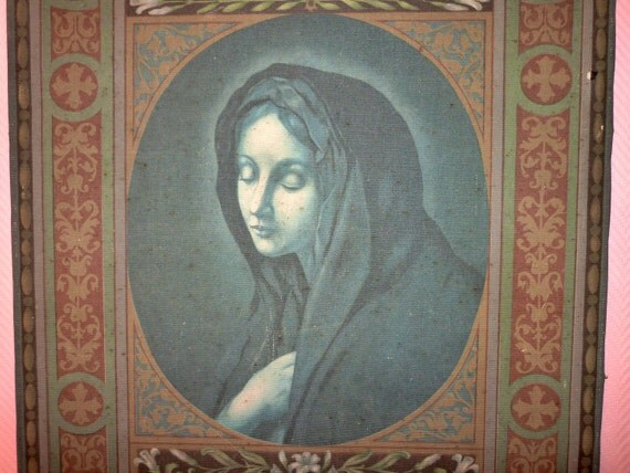 Big antique French oil painting on linen canvas on wooden frame, 1800s, mourning lady mortuary madonna, post mortem European art
