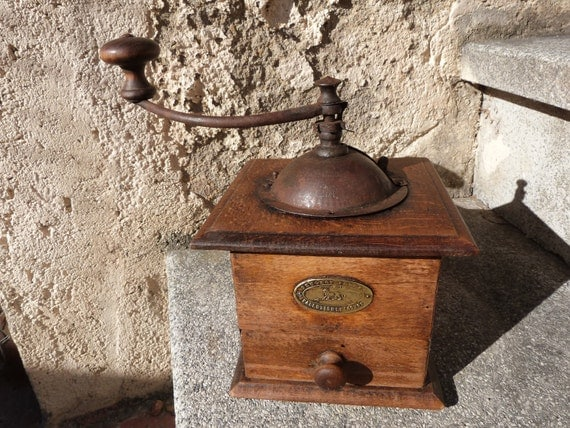 Antique French wood coffee mill wooden coffee grinder Peugeot Freres  from France , all complete w label, RARE kitchenware, country cottage