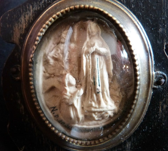 Holy water font Meerschaum, Antique French 1800s religious Holy Virgin Mary our lady of Lourdes, Napoleon III wooden cross frame w porcelain