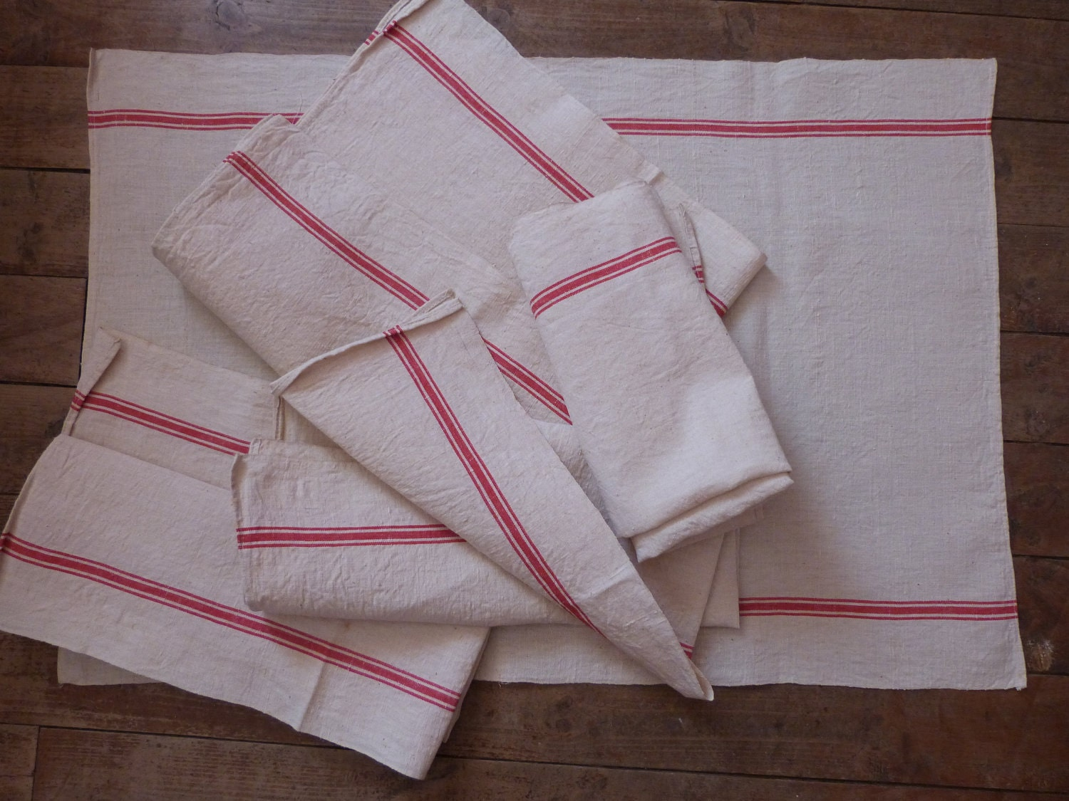 4 Antique French Linen Towels Big Red Striped Kitchen Dish