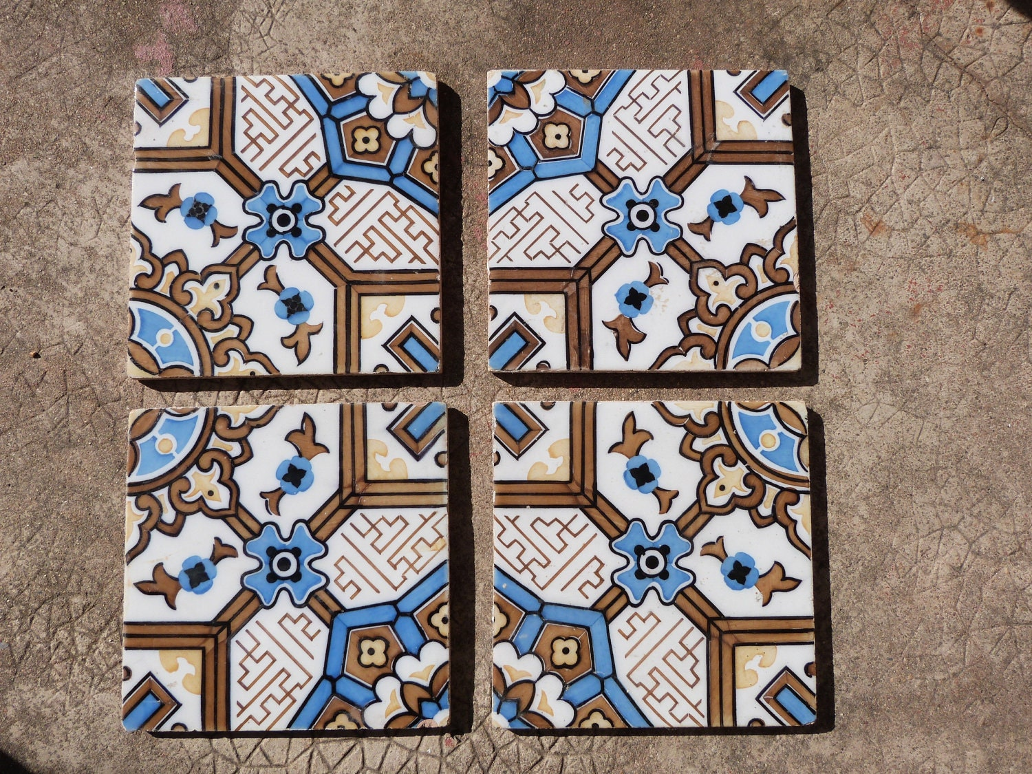 Antique floor mosaic tile architecture by MyFrenchAntiqueShop