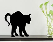 Halloween black terrified cat custom color vinyl wall decal