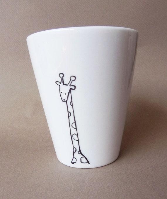 Giraffe, hand painted white porcelain mug