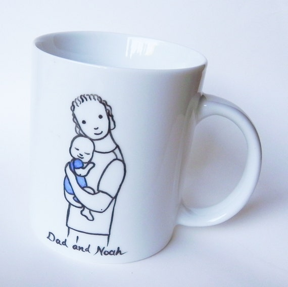 Hand painted custom made porcelain cup, dad with baby mug for dad gift for dad new dad gift new father gift