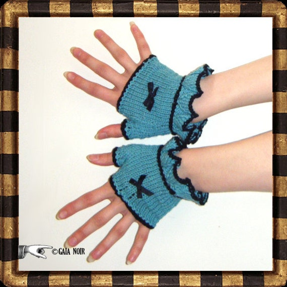 Victoriana Bow Wristwarmers Fingerless Mittens Gloves Ruffle Turquoise Kitsch