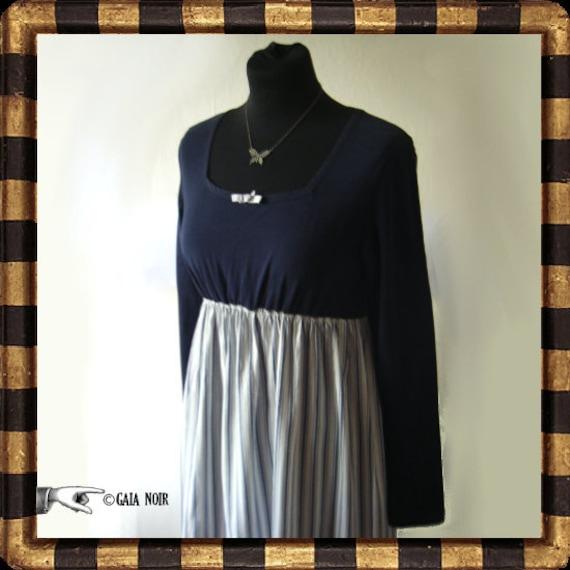 Austentatious Blue Stripe Dress Romantic Regency Upcycled Eco Customized Empire Waist Jane Austen Historical