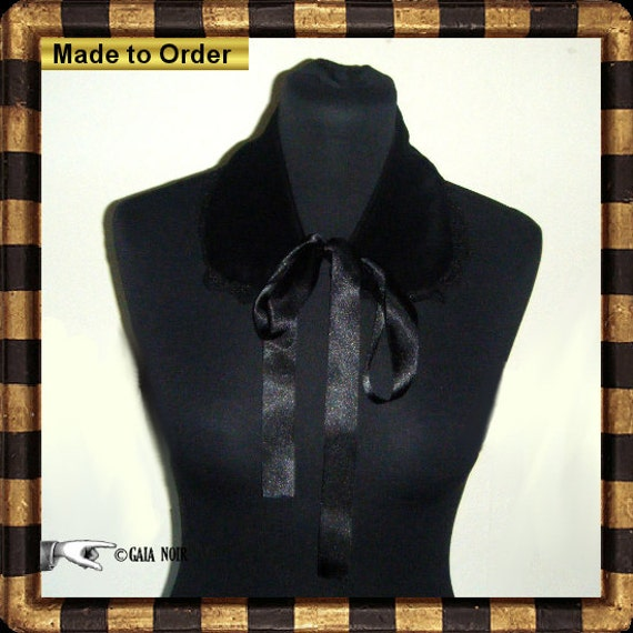 Velvet Collar Black Lace Gothic Lolita Detachable Eco Organic One Size MADE TO ORDER