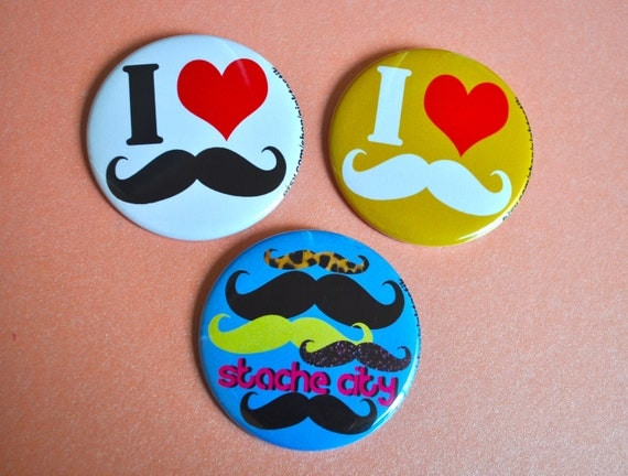 Mustache Buttons, I love Mustache Buttons, Mustache Party Buttons, Party Favors, Pin Back Button Pack