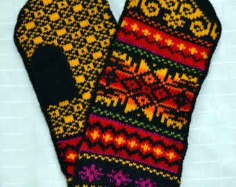 Wool Knitted Mittens Norwegian mittens Scandinavian folk art, hand crafted, 100% Wool Snowflake Fair Isle Christmas gift winter worm mittens