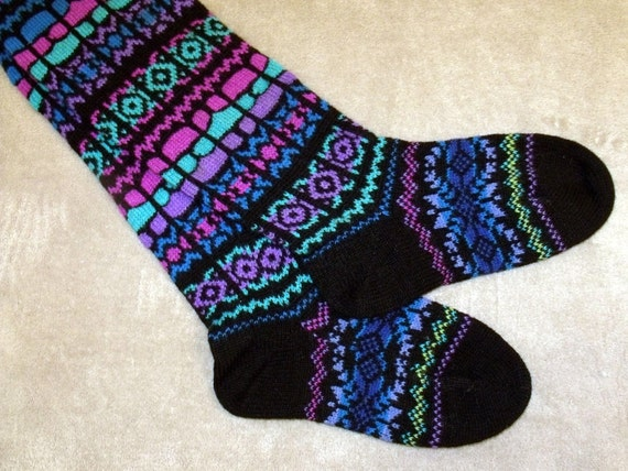 NORWEGIAN Hand Crafted 100% wool above OVER KNEE Lenght socks, Large , folk art