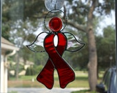 Scarlet Red Waterglass Awareness Angel with Scarlet Red Crystal Gem Head