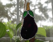 "Stained Glass Vivid ""Eggplant""  Garden Plant Stake/Garden Marker"