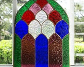 Church Keyhole Panel - Rich Glass Colors and Textures - 10 x 14 - Unusual Design