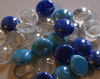 Electric Blue Collection of Gems, Nuggets, Flat Backed  Mosaic Tiles/Glass/Cabochons 30 ct.
